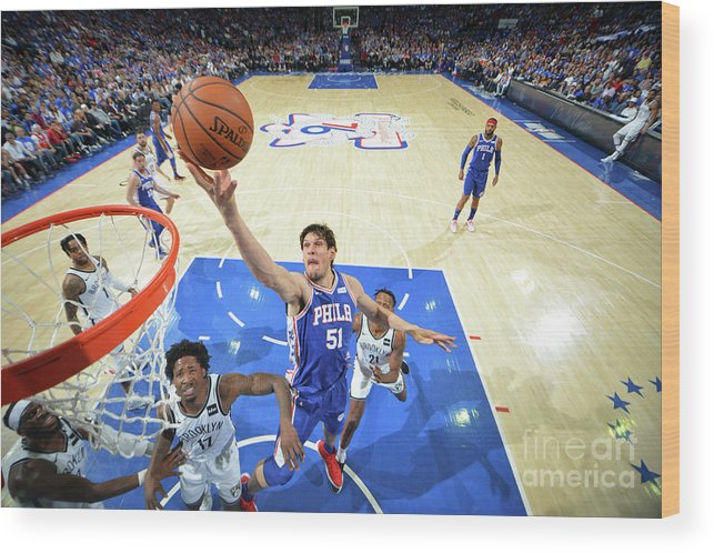 Playoffs Wood Print featuring the photograph Brooklyn Nets V Philadelphia 76ers - by Jesse D. Garrabrant