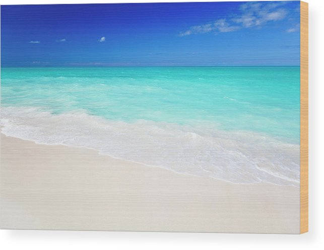 Water's Edge Wood Print featuring the photograph Clean White Caribbean Beach With Blue by Michaelutech