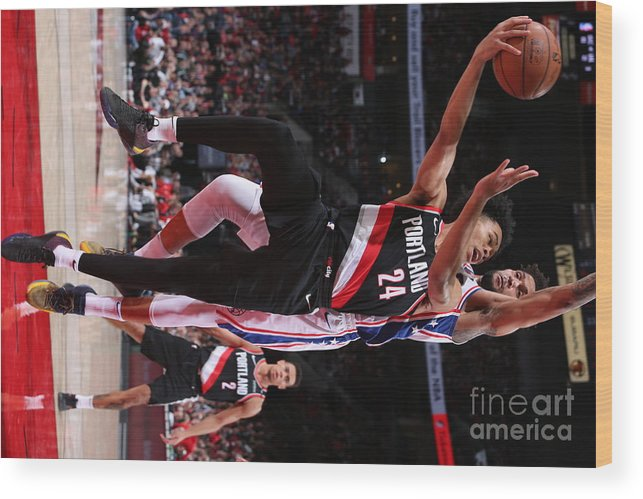 Nba Pro Basketball Wood Print featuring the photograph Philadelphia 76ers V Portland Trail by Sam Forencich