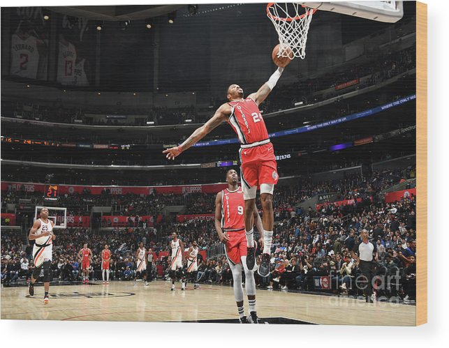 Nba Pro Basketball Wood Print featuring the photograph Portland Trail Blazers V La Clippers by Andrew D. Bernstein