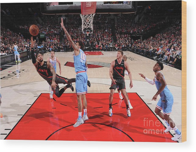 Nba Pro Basketball Wood Print featuring the photograph Sacramento Kings V Portland Trail by Sam Forencich