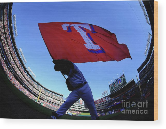 American League Baseball Wood Print featuring the photograph Seattle Mariners V Texas Rangers by Tom Pennington