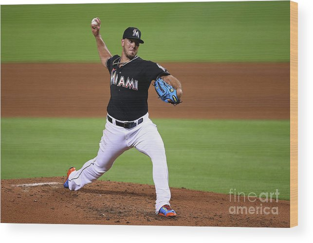 People Wood Print featuring the photograph Washington Nationals V Miami Marlins by Rob Foldy