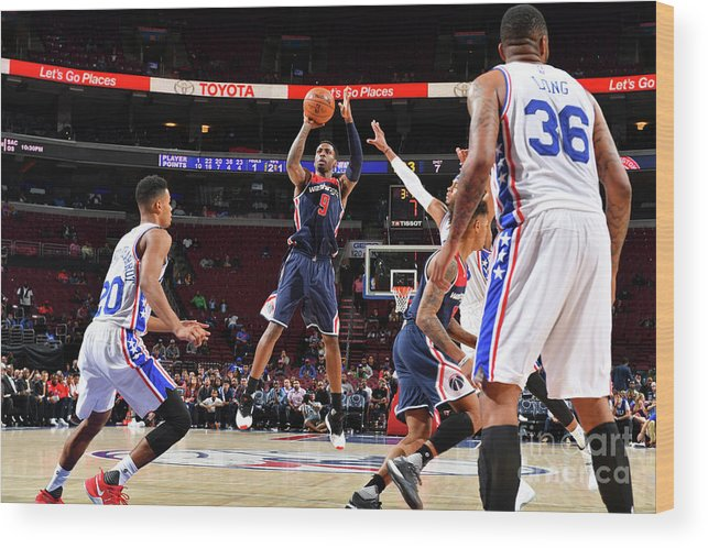 Nba Pro Basketball Wood Print featuring the photograph Washington Wizards V Philadelphia 76ers by Jesse D. Garrabrant