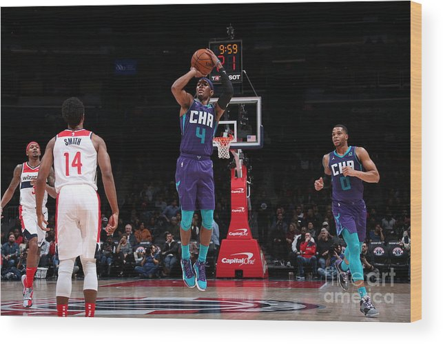Nba Pro Basketball Wood Print featuring the photograph Charlotte Hornets V Washington Wizards by Ned Dishman
