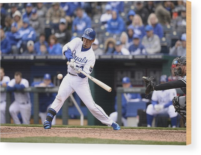 American League Baseball Wood Print featuring the photograph Chicago White Sox V. Kansas City Royals by John Williamson