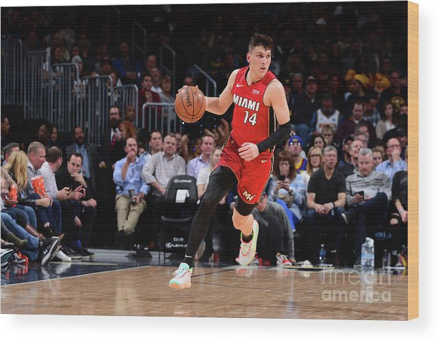 Tyler Herro Wood Print featuring the photograph Miami Heat V Denver Nuggets by Bart Young