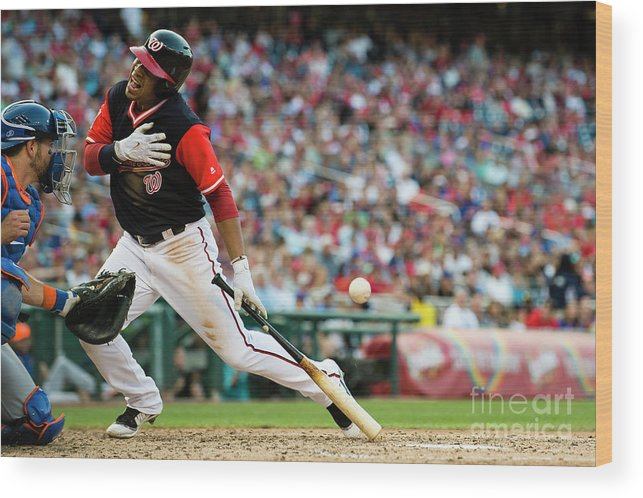 People Wood Print featuring the photograph New York Mets V Washington Nationals by Patrick Mcdermott