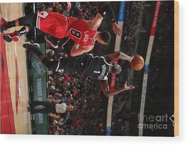 Nba Pro Basketball Wood Print featuring the photograph Brooklyn Nets V Chicago Bulls by Gary Dineen