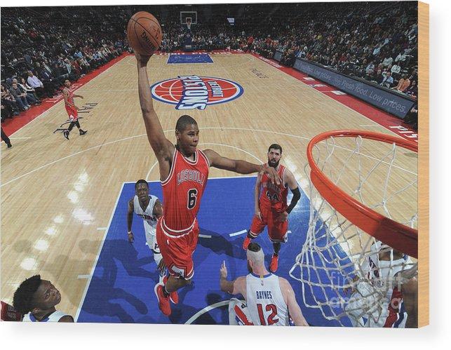 Nba Pro Basketball Wood Print featuring the photograph Chicago Bulls V Detroit Pistons by Chris Schwegler