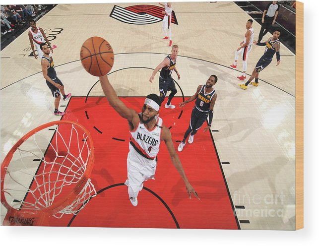 Moe Harkless Wood Print featuring the photograph Denver Nuggets V Portland Trail Blazers by Cameron Browne