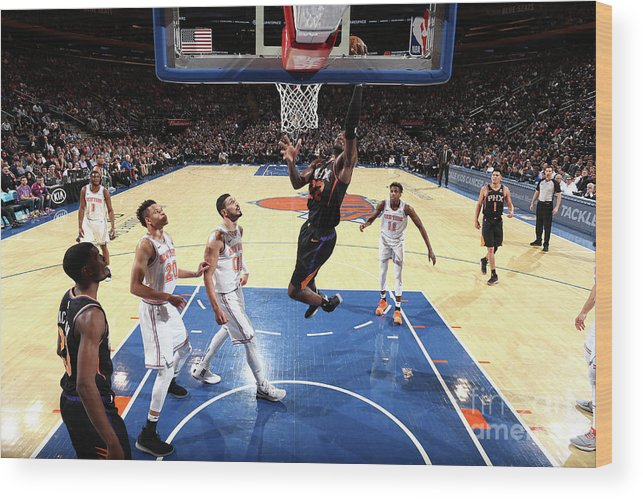 Nba Pro Basketball Wood Print featuring the photograph Phoenix Suns V New York Knicks by Nathaniel S. Butler