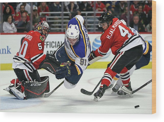 Playoffs Wood Print featuring the photograph St. Louis Blues V Chicago Blackhawks - by Jonathan Daniel