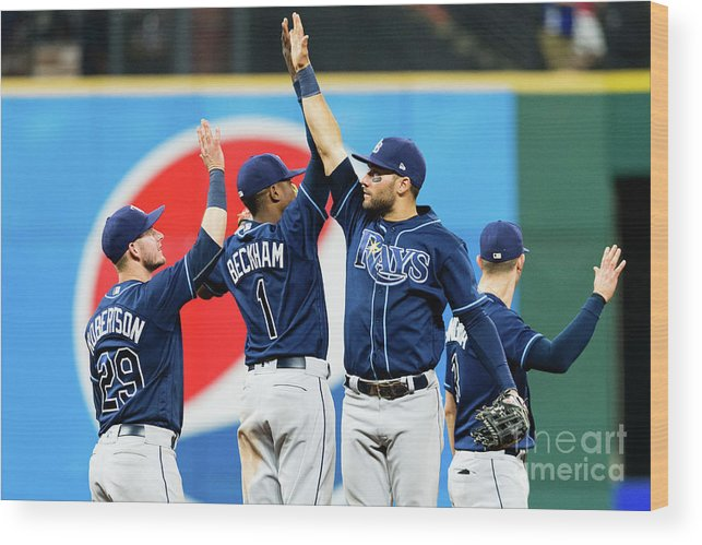 Three Quarter Length Wood Print featuring the photograph Tampa Bay Rays V Cleveland Indians by Jason Miller