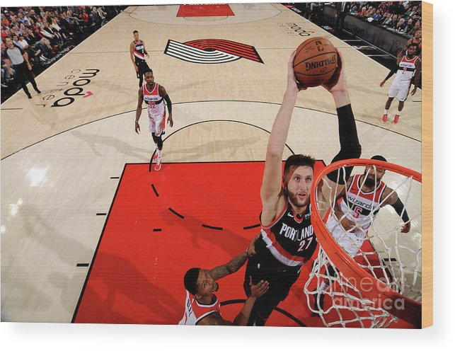 Jusuf Nurkić Wood Print featuring the photograph Washington Wizards V Portland Trail by Cameron Browne