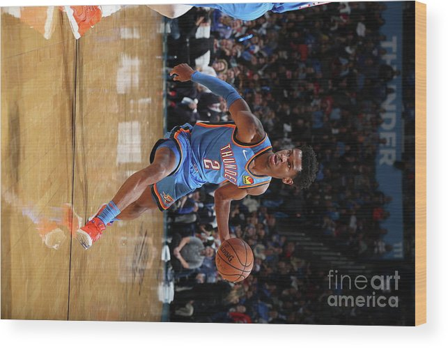 Nba Pro Basketball Wood Print featuring the photograph 76ers Vs Thunder by Zach Beeker