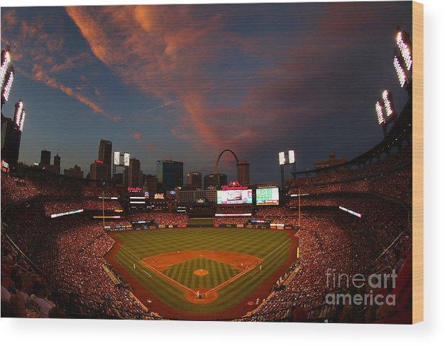 American League Baseball Wood Print featuring the photograph Atlanta Braves V St Louis Cardinals by Dilip Vishwanat