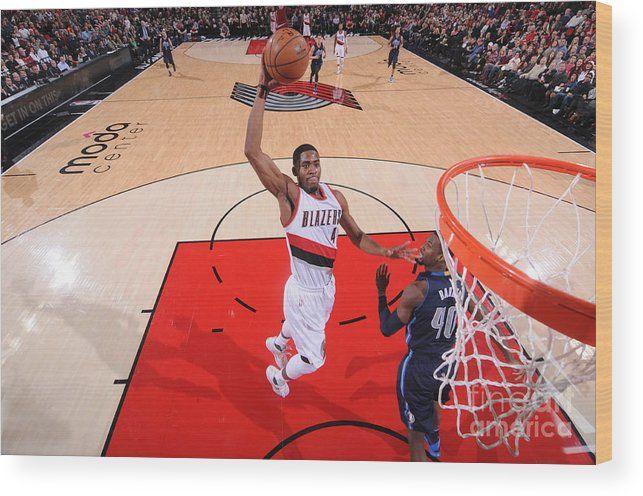 Moe Harkless Wood Print featuring the photograph Dallas Mavericks V Portland Trail by Sam Forencich