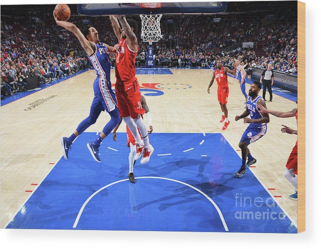 Nba Pro Basketball Wood Print featuring the photograph Houston Rockets V Philadelphia 76ers by Jesse D. Garrabrant