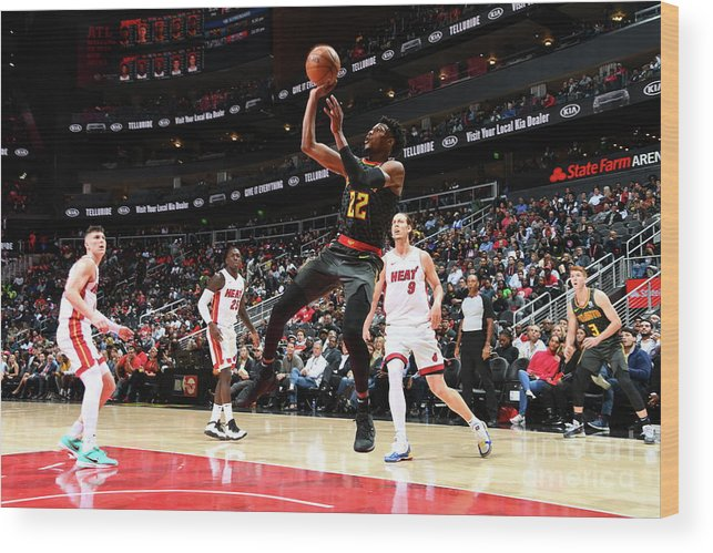 Atlanta Wood Print featuring the photograph Miami Heat V Atlanta Hawks by Scott Cunningham