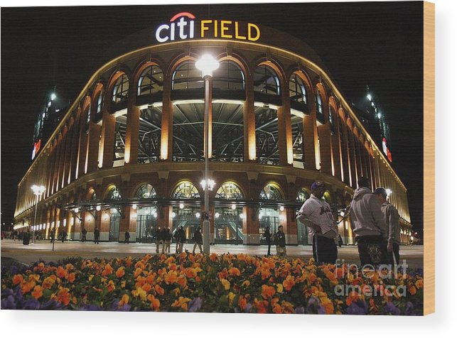 Defeat Wood Print featuring the photograph San Diego Padres V New York Mets by Jim Mcisaac