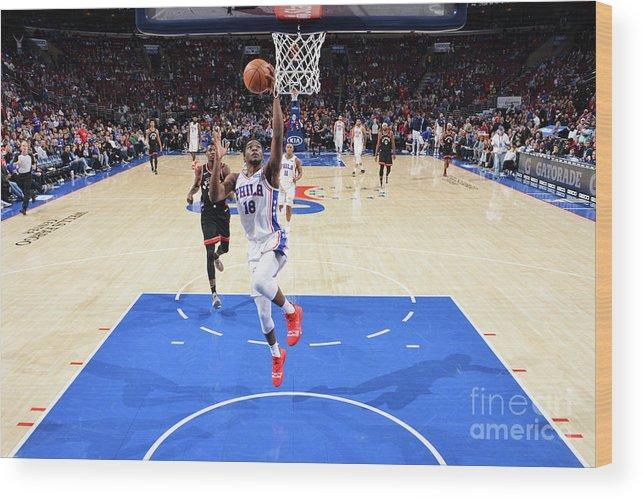 Nba Pro Basketball Wood Print featuring the photograph Toronto Raptors V Philadelphia 76ers by Jesse D. Garrabrant