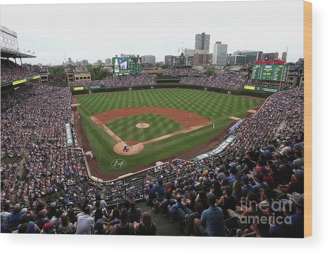 American League Baseball Wood Print featuring the photograph Philadelphia Phillies V Chicago Cubs by Jonathan Daniel