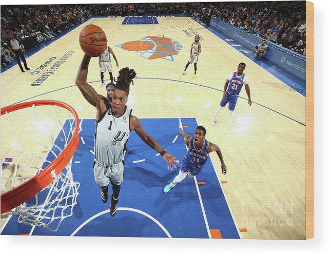 Nba Pro Basketball Wood Print featuring the photograph San Antonio Spurs V New York Knicks by Nathaniel S. Butler