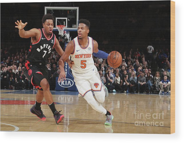 Nba Pro Basketball Wood Print featuring the photograph Toronto Raptors V New York Knicks by Nathaniel S. Butler