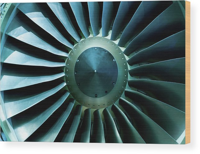 Material Wood Print featuring the photograph A Close Of Up A Turbine Showing The by Brasil2