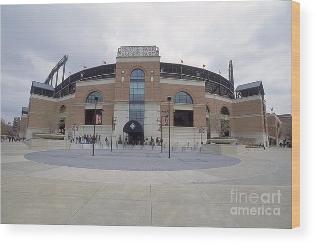 American League Baseball Wood Print featuring the photograph A General View Of Oriole Park At Camden by Doug Pensinger