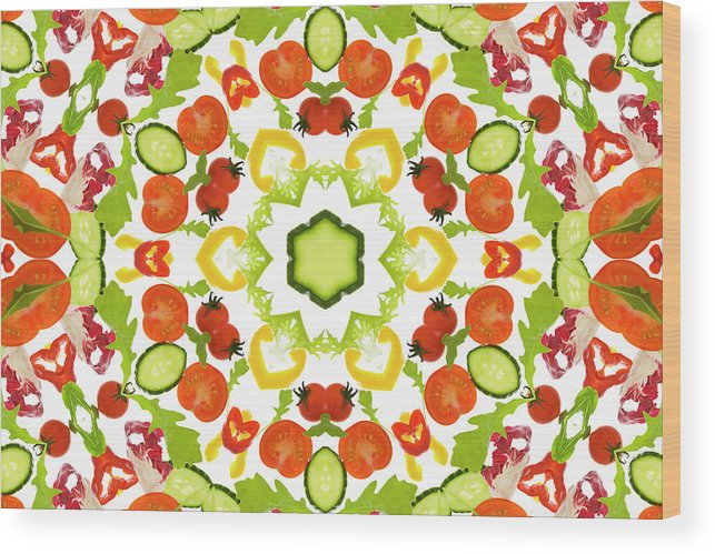 White Background Wood Print featuring the photograph A Kaleidoscope Image Of Salad Vegetables by Andrew Bret Wallis