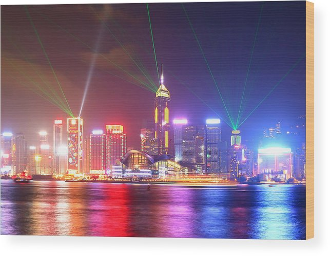 Tranquility Wood Print featuring the photograph A Symphony Of Lights by Liu Wai Yip Even