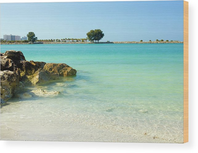 Clearwater Wood Print featuring the photograph A View Of A Clear Beach During A Summer by Bluehill75