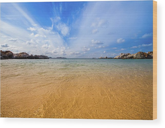 Tranquility Wood Print featuring the photograph A View Of The Caribbean Sea From The by Lotus Carroll