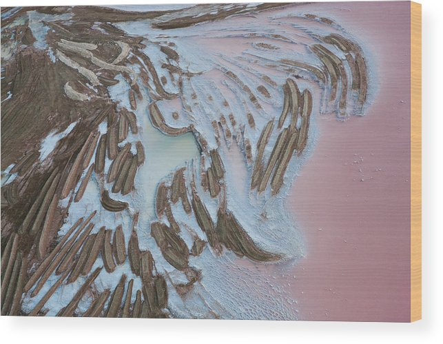 Extreme Terrain Wood Print featuring the photograph Aerial View Of Salt Works Namibia by Peter Adams