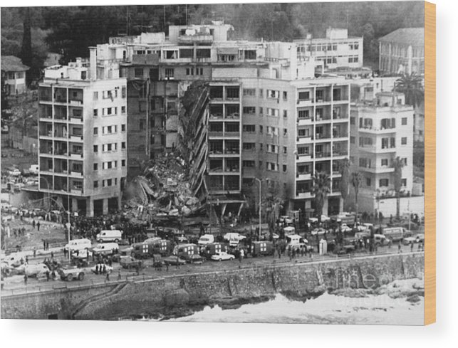 1980-1989 Wood Print featuring the photograph Aerial View Of The Us Embassy In Beirut by Bettmann