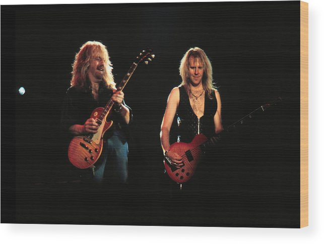 Tom Hamilton Wood Print featuring the photograph Aerosmith Performing In Mn by Jim Steinfeldt