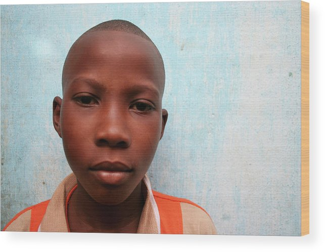 Education Wood Print featuring the photograph African Boy by Peeterv