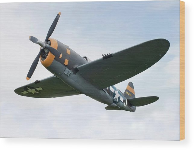 Air Attack Wood Print featuring the photograph Airplane P-47 Thunderbolt From World by Okrad