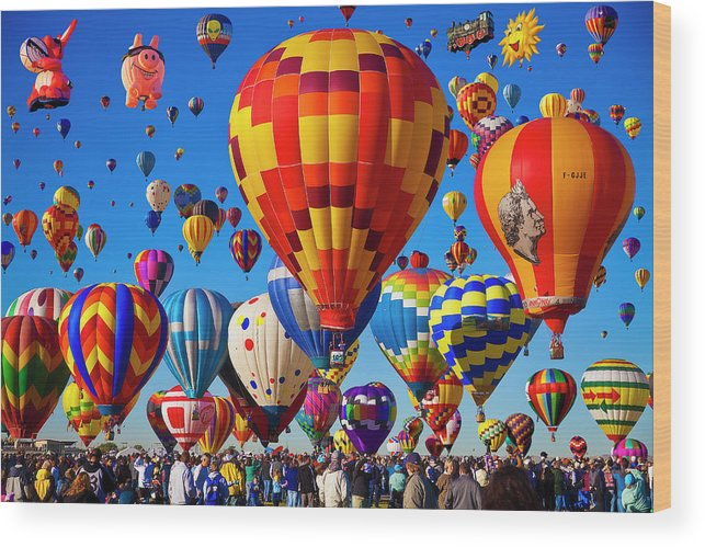 People Wood Print featuring the photograph Albuquerque Balloon Fiesta by Bill Heinsohn