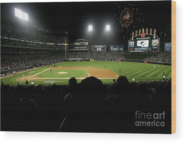 Game Two Wood Print featuring the photograph Alcs Los Angeles Angels Of Anaheim V by Jonathan Daniel