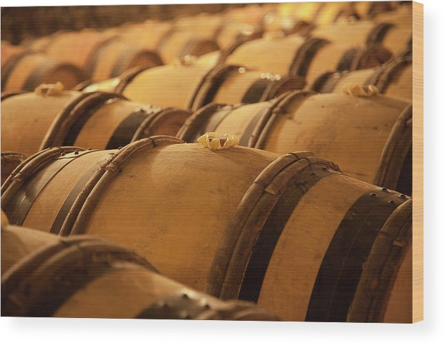 Fermenting Wood Print featuring the photograph An Old Wine Cellar Full Of Barrels by Brasil2