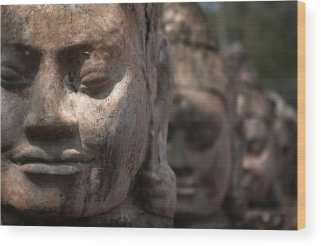 Art Wood Print featuring the photograph Angkor Warriors by Romulo Rejon