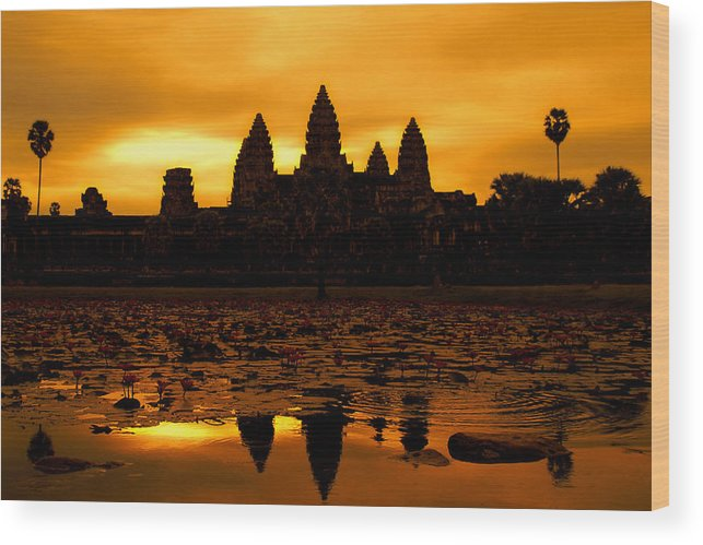 Cambodian Culture Wood Print featuring the photograph Angkor Wat At Sunrise by David Lazar
