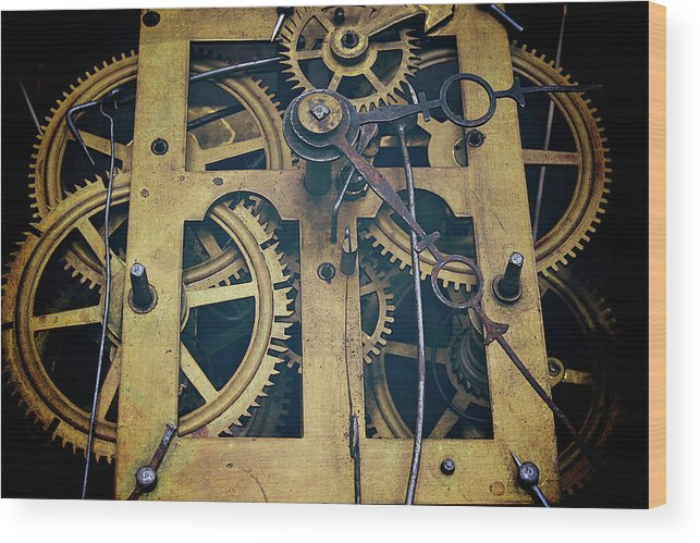 Gear Wood Print featuring the photograph Antique Clock Gears, Cog And Parts by Melissa Ross