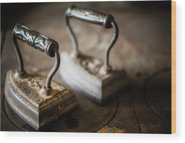 Two Objects Wood Print featuring the photograph Antique Irons by Jimss