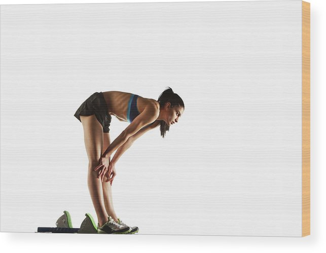 People Wood Print featuring the photograph Athlete Resting At Starting Block by Moof