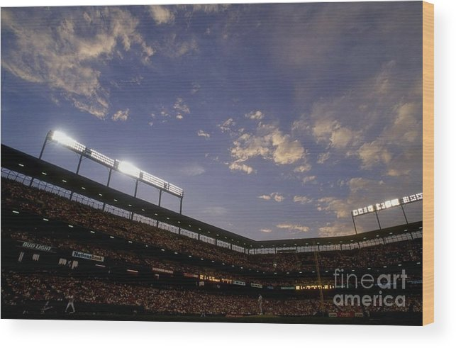 American League Baseball Wood Print featuring the photograph Athletics V Orioles by Doug Pensinger