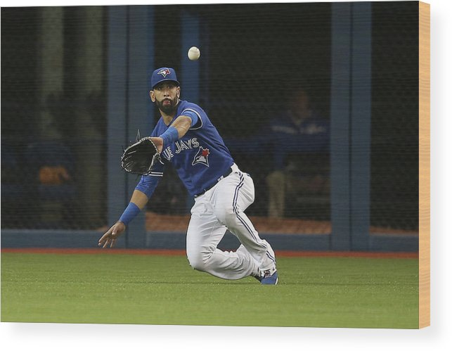 Second Inning Wood Print featuring the photograph Atlanta Braves V Toronto Blue Jays by Tom Szczerbowski